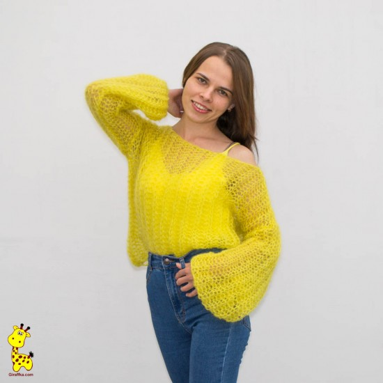 "Свитер из мохера спицами описание ""Sunny sweater"""