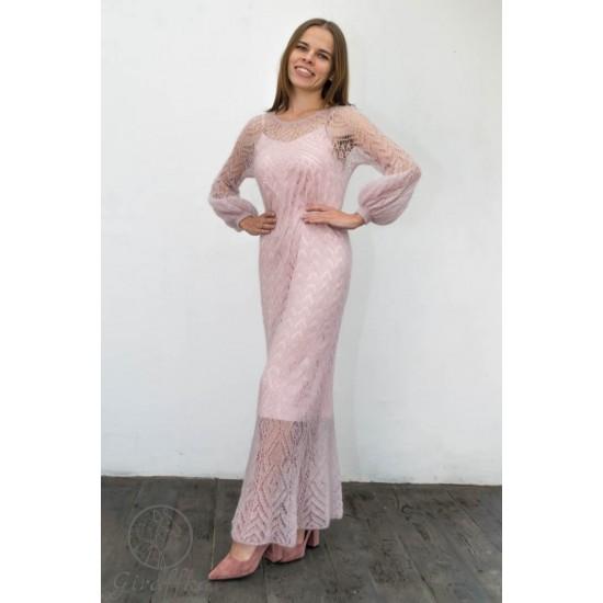 Вязаное платье в пол из кид мохера на шёлке