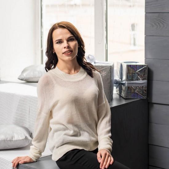 Прозрачный свитер из 100% мериносовой шерсти